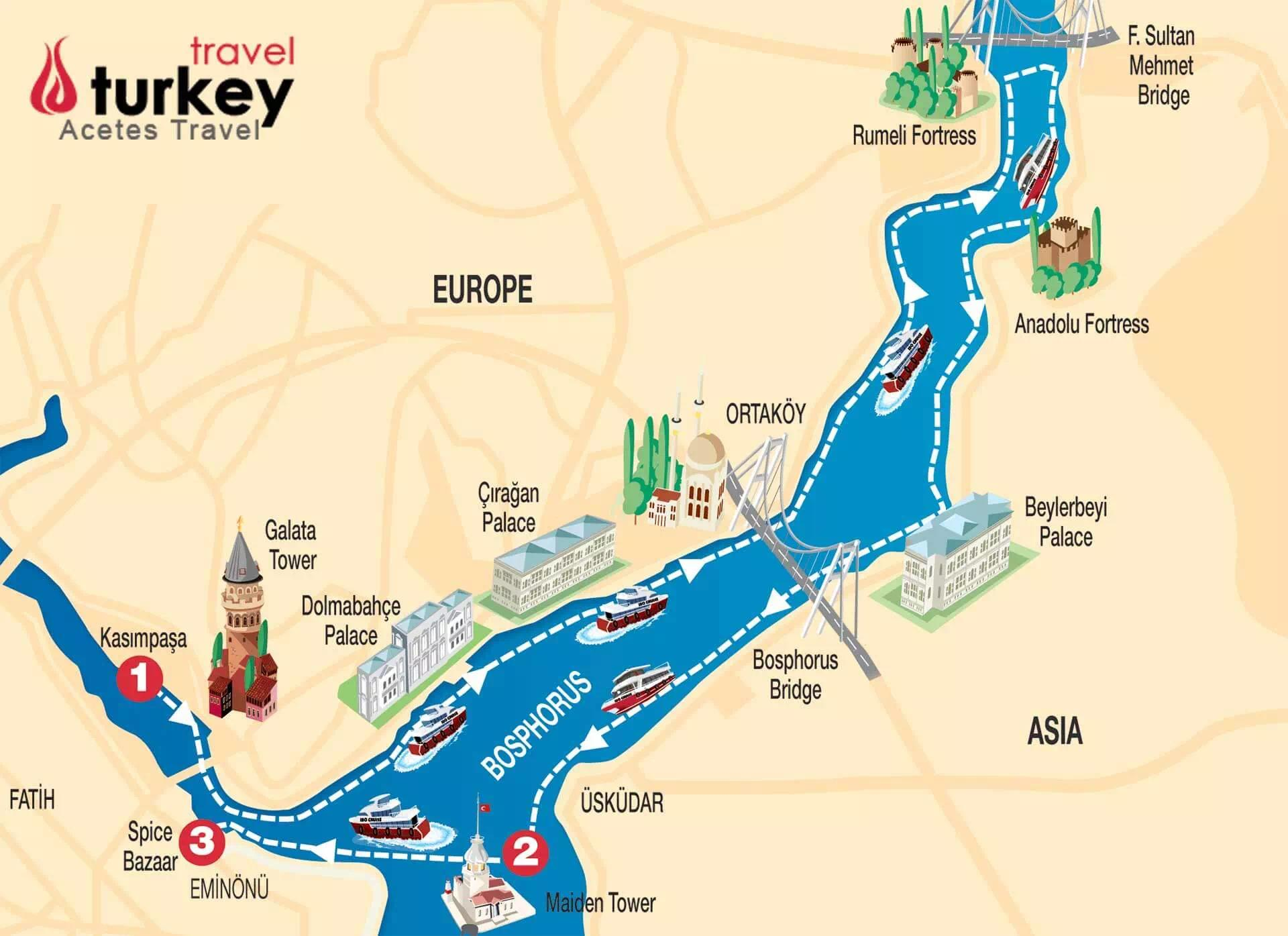 Istanbul Europe Map.Top Landmarks In Istanbul Bosphorus Top Landmarks In Istanbul